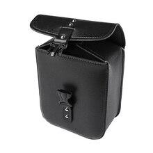 Черная кожаная сумка для мотоцикла, сумка для хранения инструментов, Боковая Сумка, Комплект запчастей, водонепроницаемая Боковая Сумка дл...