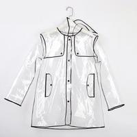 Freesmily Women Men Transparent Waterproof Rain Jacket Coat Rain Poncho with Hood and Colorful Edge