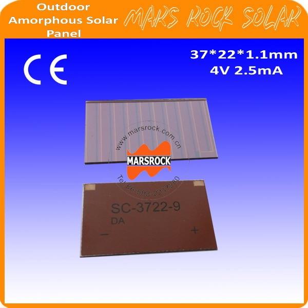 Película delgada de 4V 2.5mA 37x22mm celdas solares de silicona amorfa para productos al aire libre solicitar juguetes, calculadora, Mini panel Solar, lámparas