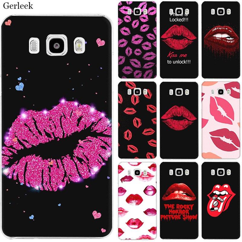 Gerleek Cell Phone Case For Samsung Galaxy J1 J2 J3 J5 J7 Hard Cover Kiss Me Lips Lipstick Rouge