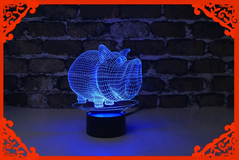 2016 mais recente vinda presentes 3d luz conduzida da noite/candeeiro de mesa sorte forma de porco para o dia das bruxas feliz aniversário para crianças/namorada