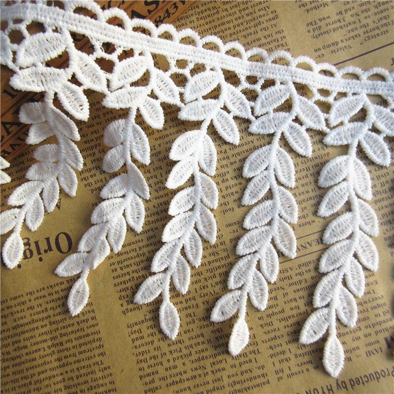 1 yarda 11,5 CM de algodón blanco borla de hoja franja bordado cinta para ajuste, cordón cosido a mano de tejidos suministros manualidad para regalo decorativo