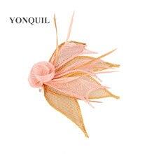 Livraison gratuite 17 couleurs chapellerie sinamay fascinators accessoires de mariage belles broches fête chapeaux mariée casque 6 pièces/lot MYQ021