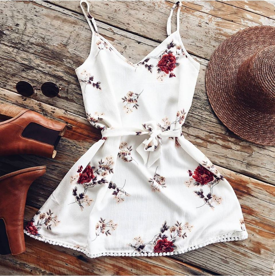 New Fashion Women Summer Casual Sleeveless Dresses Short Mini Sexy Ladies Flower Hot V-Neck Floral Printed dress