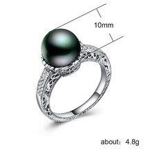 925 bijoux en argent bague en acier inoxydable Zircon couple perles anneaux trésor bijoux indiens de luxe pierre vintage perle noire B954