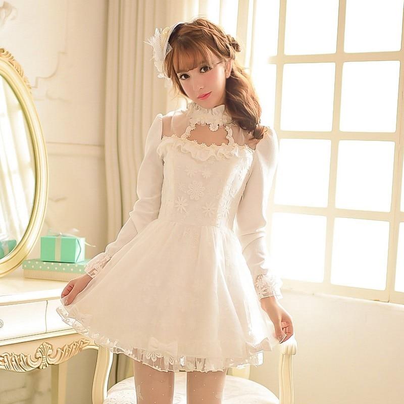 Princesa adorable Vestido de lolita Candy lluvia Otoño Invierno ahueca hacia fuera blanco puff manga stand collar manga larga vestido de encaje C15CD5904