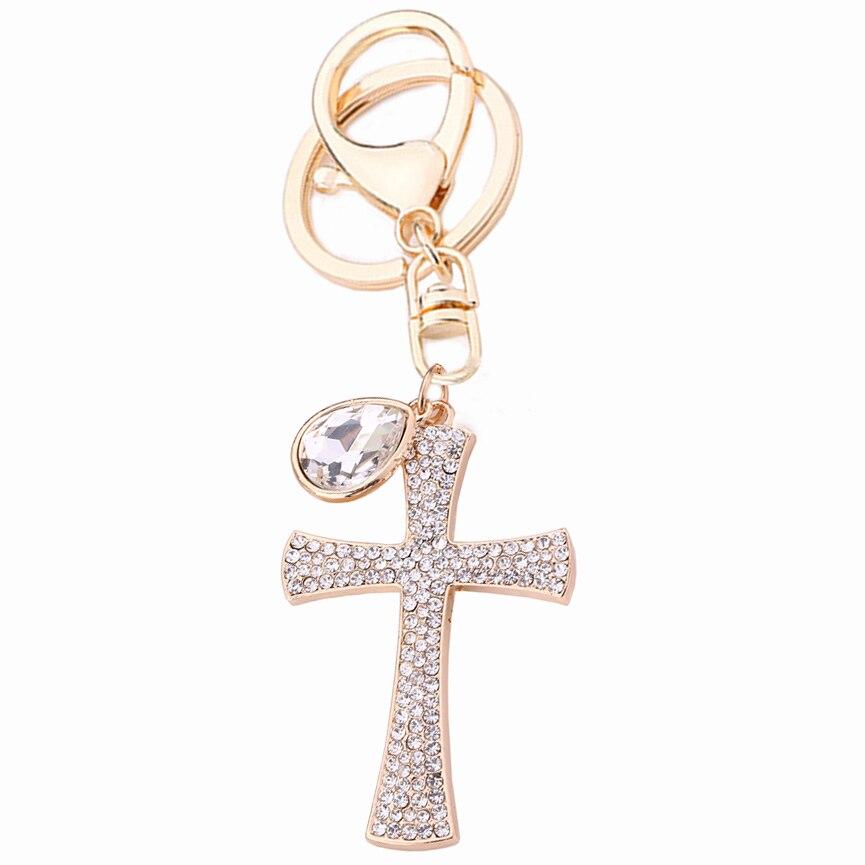 Шарм Кристалл крест кулон брелок для женщин цепочка для ключей для сумки для автомобиля сумка Пряжка брелок цепочка Ювелирные изделия Хрис...