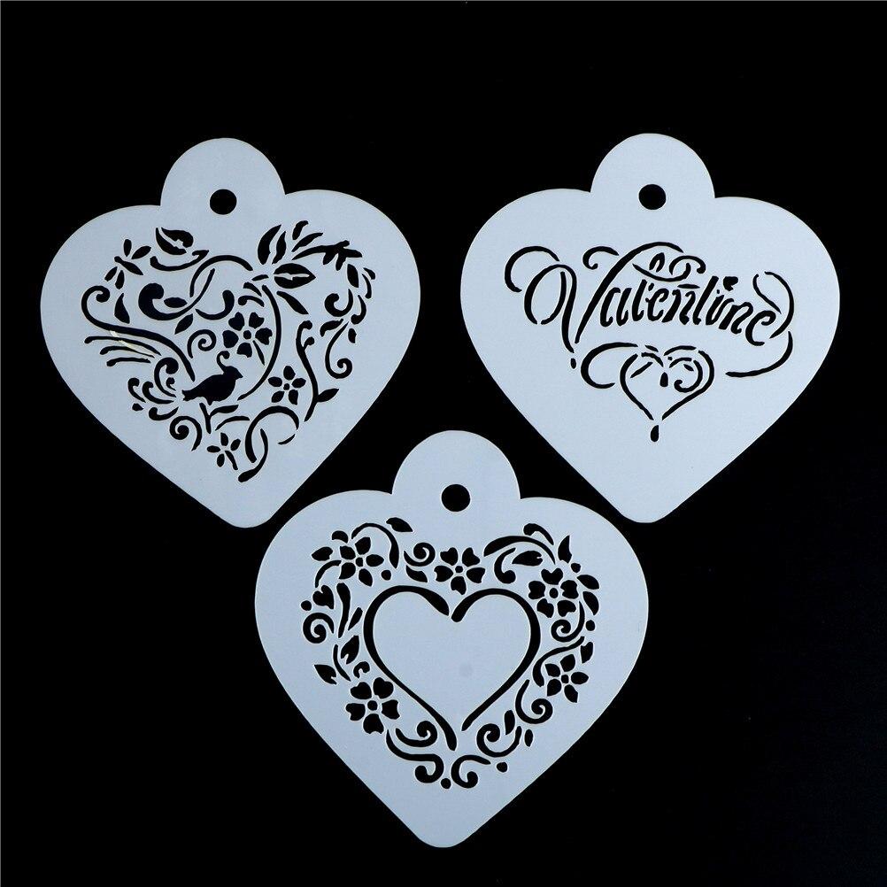 3 шт./компл. 9,5*8,5 см сердце стиль шаблон Strew цветы бариста инструменты кухонные аксессуары пластиковые трафареты для кофе капучино