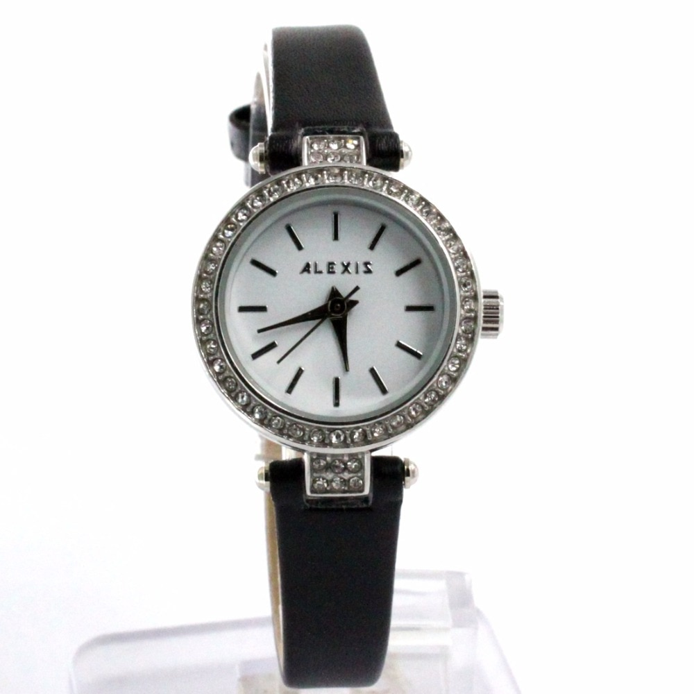 Japan Quartz PC21J ALEXIS Brand Watch Faux Leather Wrist watches Slim Ladies Crystal Lady Watch Best for your Gifts enlarge
