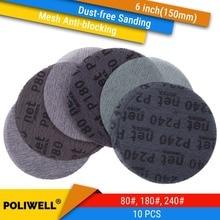 Disques abrasifs abrasifs à mailles, 6 pouces (150mm), pour le polissage métal, 80 #/180 #/240 #, 10 pièces