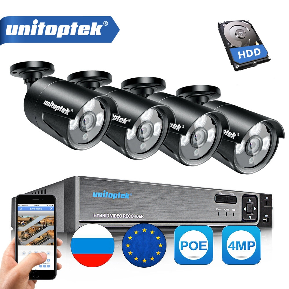 4CH CCTV System POE NVR 2592*1520 4MP POE IP cámara de seguridad al aire libre cámara de visión nocturna impermeable Video vigilancia Kit