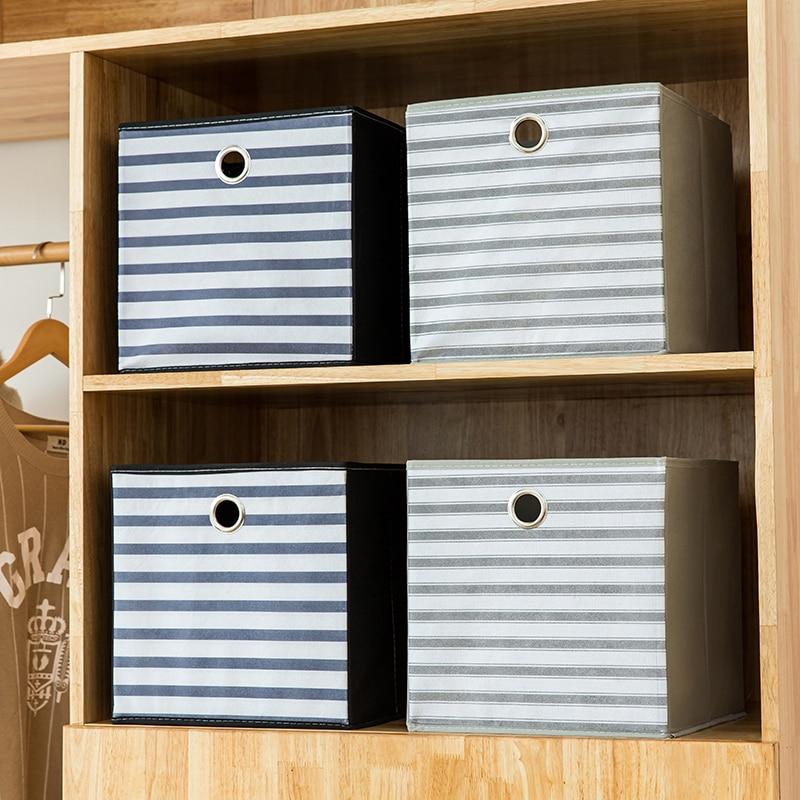 Caja de almacenamiento de tela no tejida a rayas caja de almacenamiento de juguetes plegable para chico organizador de cubos de armario con organización de almacenamiento de Agujero de respiración