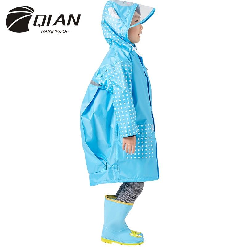 QIAN 3-10 Years Old Fashion Waterproof Kids Boys Girls Raincoat Hooded Rain Poncho Cartoon Gear Children Coat Suit