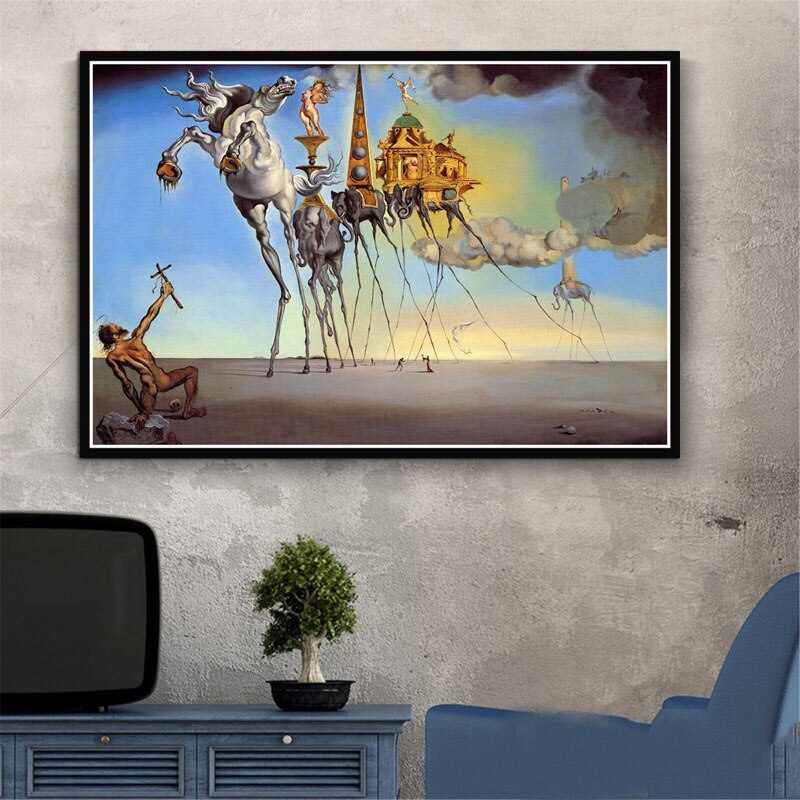 Decoración del hogar cuadro sobre lienzo para pared Retro psicodélico fotos de Salvador Dalí impresiones de estilo nórdico póster Modular sala de estar