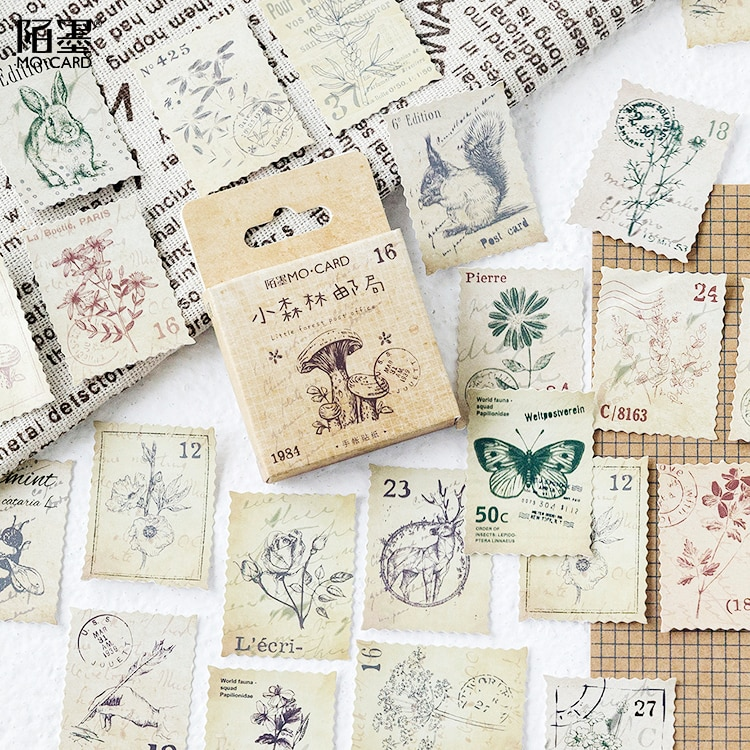 45-pz-pacco-foresta-story-epoca-adesivo-decorativo-adesivi-scrapbooking-fai-da-te-diario-album-di-etichetta-bastone-per-il-regalo