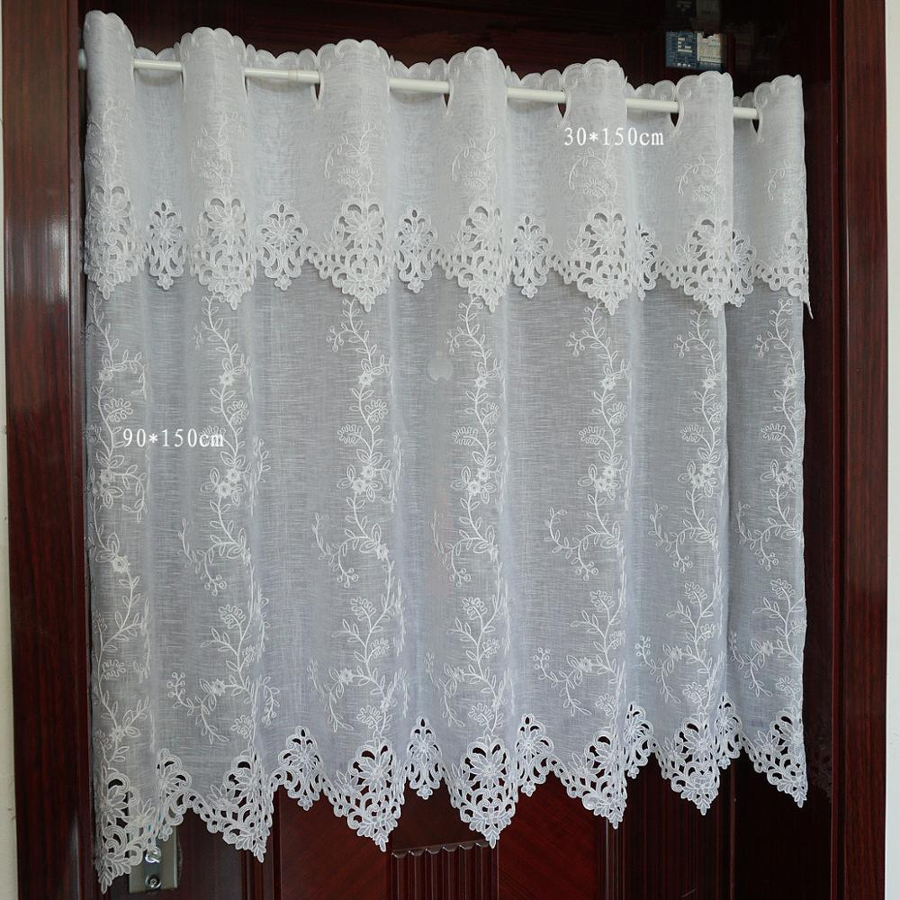 Medio cortina lisa de campo, cenefa de ventana bordada con flores blancas, cortina de café de Bajo de encaje para cocina, A-114 de puerta de gabinete