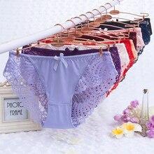 Sous-vêtement grande taille pour femmes, culotte Sexy en dentelle, taille basse transparente, ajourée, dos en T, culotte pour dames, culotte grande taille, M-3XL