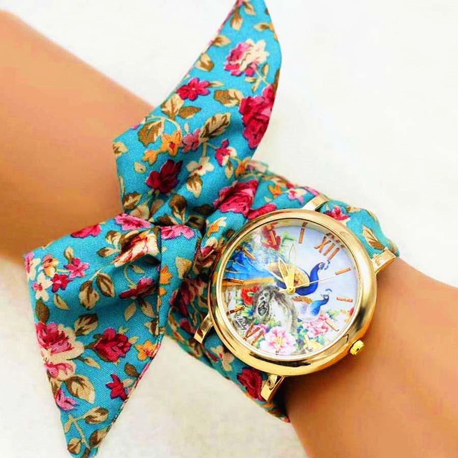 Shsby New Woman's Watch Fashion Luxury Ladies Quartz Wristwatch Top Brand Floral Cloth Bracelet Watch flower Women Watches Reloj