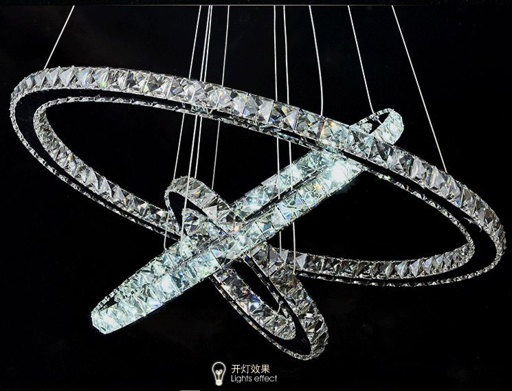 Diamond 3 Circles Ring Stainless steel Modern Pendant Lamp High-grade light 65W LED K9 Crystal Chandelier D40X30X20cm  - buy with discount