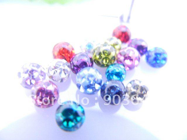 Envío Gratis 50 unids/lote Bola de GEMA de cristal de repuesto para piercing corporal joyería labio/ceja/oreja hélice 1,2X4mm diseño suave