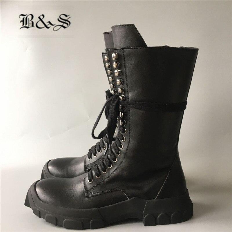 الأسود و الشارع الرجال جلد طبيعي أحذية عالية شخصية الجانب سستة العسكرية فارس روك الشارع المدرب الأحذية