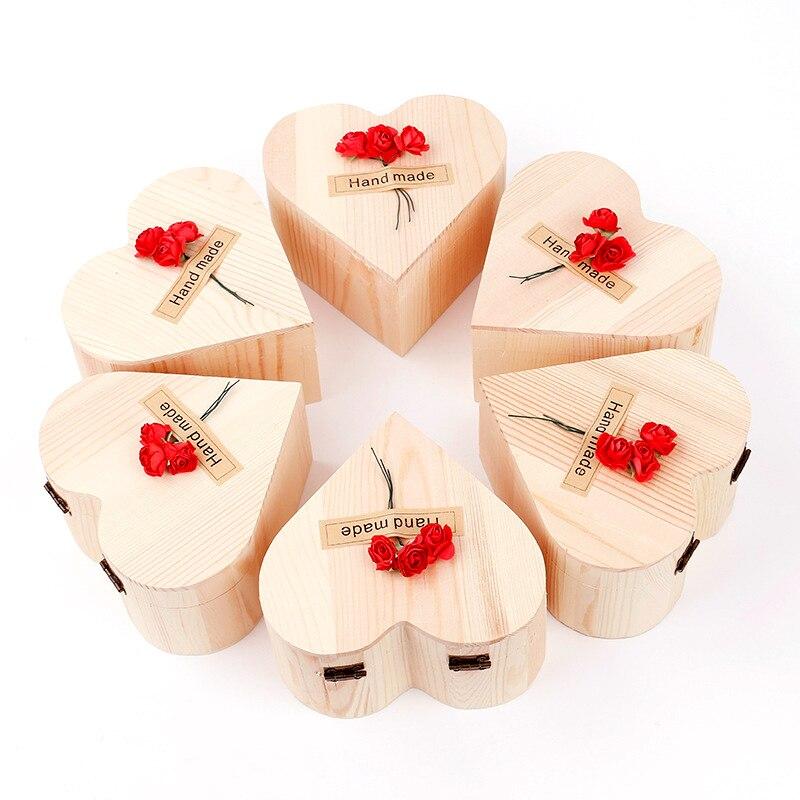 1 140g Arco Iris Multi-color de rosa de color flor jabón pétalo de madera de forma de corazón caja fiesta regalo de día de San Valentín DE LA PIEL lejía TSLM1