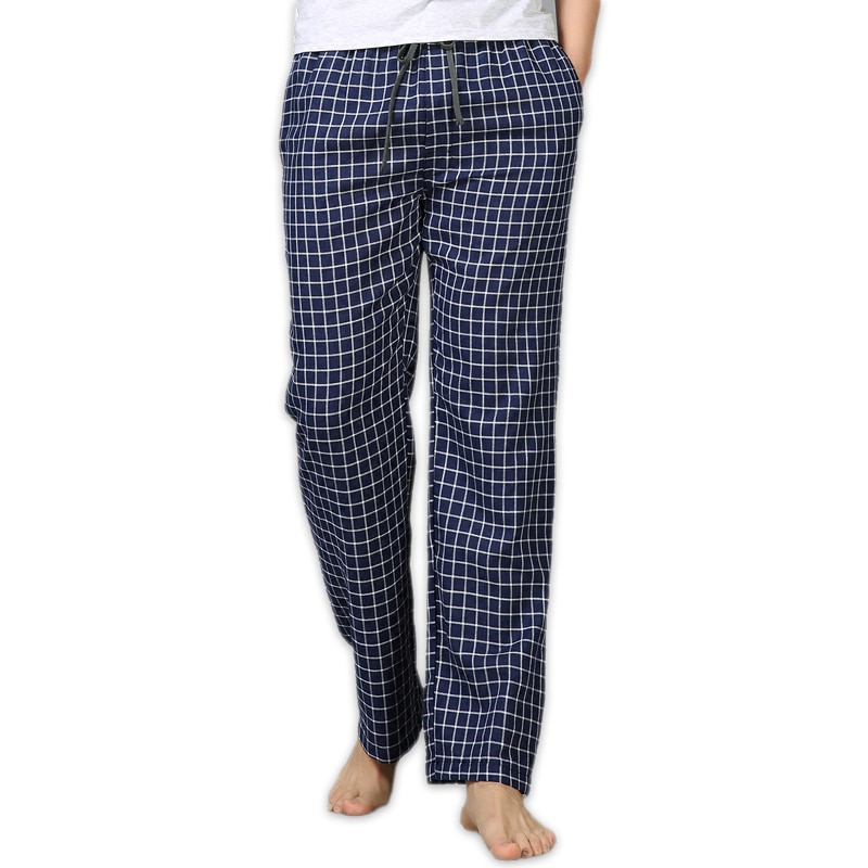 Summer 100% cotton sleep bottoms mens simple sleepwear pants for male hot sale casual plaid mens pan