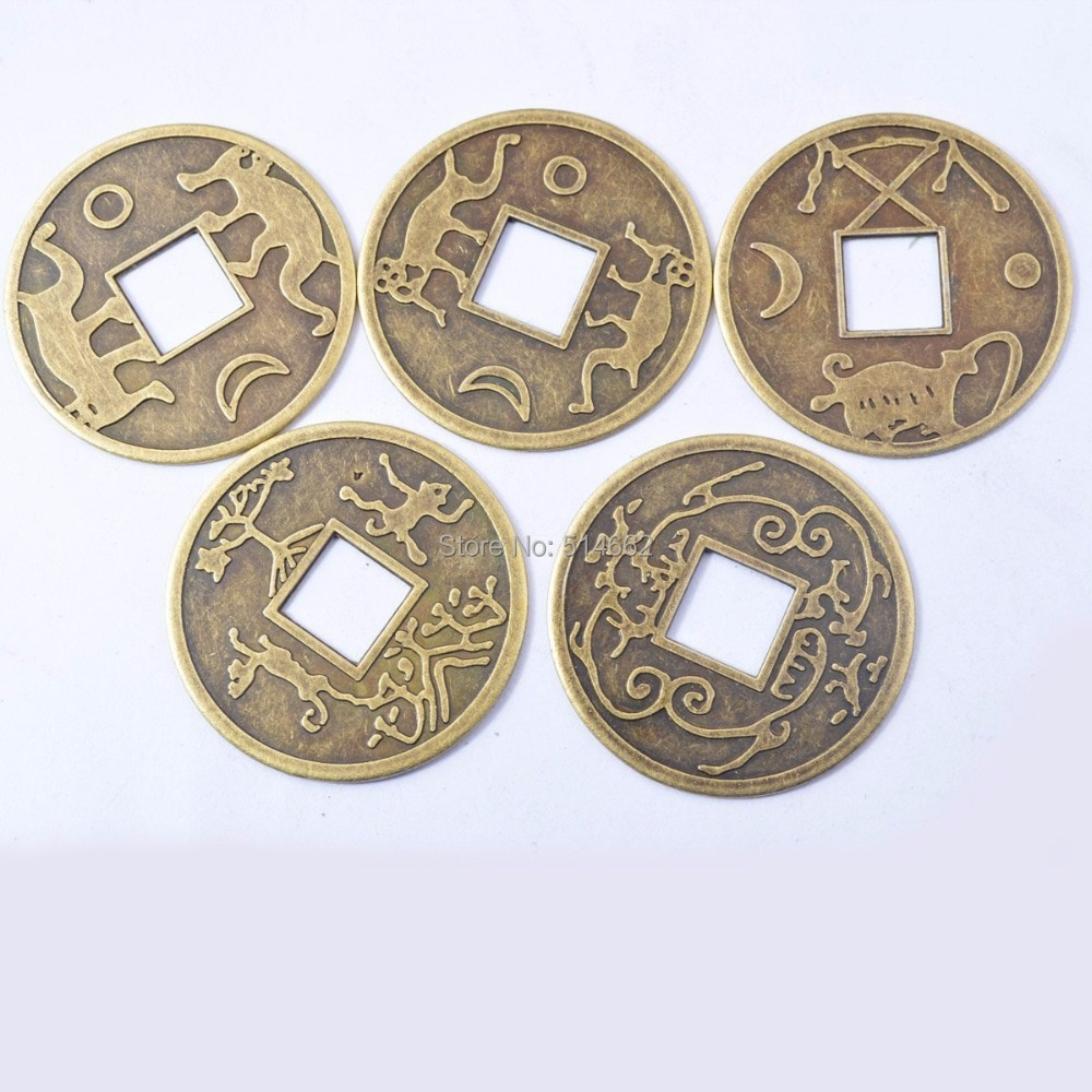 5 adet Çin eski vintage I Ching charm Feng Shui Servet İmparator Paraları Y-1109