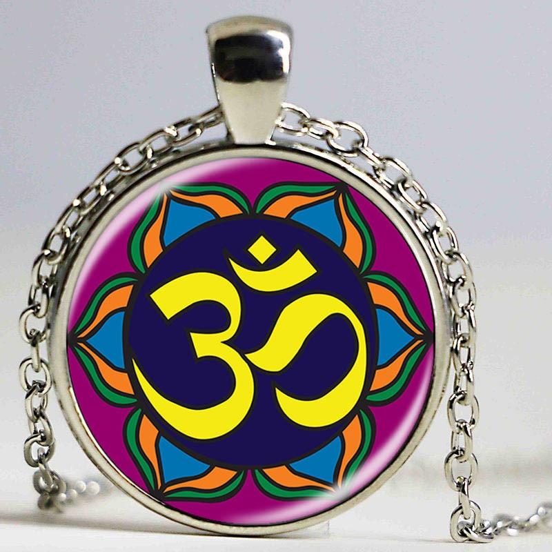Ручная работа с изображением калейдоскопа, буддизма, мандалы, ожерелье, художественный стеклянный купол, винтажный Неоновый Синий Розовый ...
