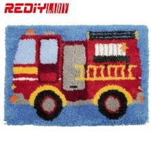 Kits de tapis à crochet en 3D   Broderies de camion de feu, tapis inachevé, fils de fils, tapis de coussin, décoration de maison, tapis brodé