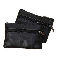 Hommes femmes porte-monnaie porte-monnaie souple fermeture éclair en cuir portefeuille pochette sac sac à main cadeau nouvelle mode noir Mini porte-monnaie