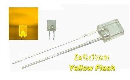 free shipping 50pcs rectangular led, yellow Flash 2x5x7mm Blink LEDs good quality