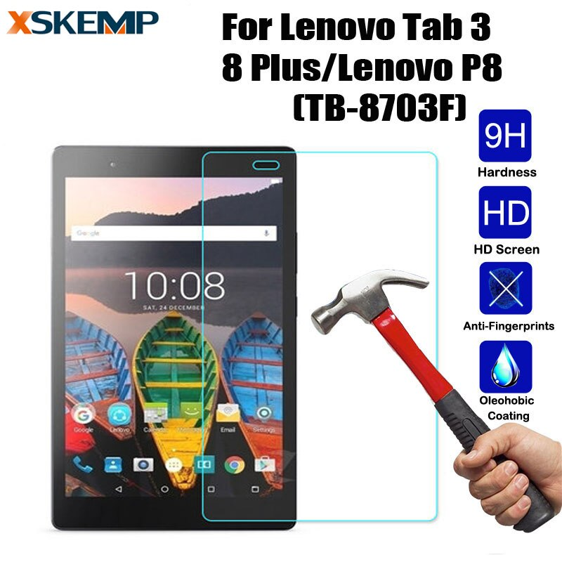 Закаленное стекло для планшета Lenovo Tab 3 8 Plus/Lenovo P8(TB-8703F), защита от царапин, без отпечатков пальцев, защитная пленка