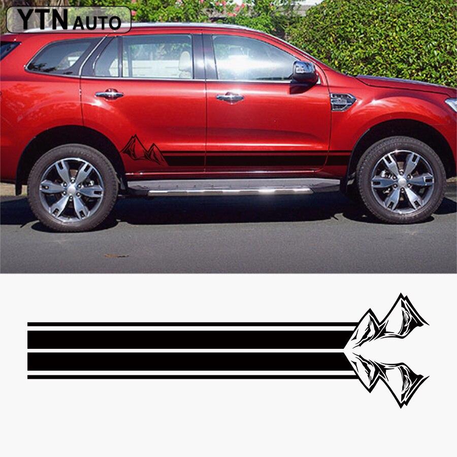 Pegatina de coche 2 Uds., puerta lateral de montañas, rayas, vinilo gráfico, accesorios de coche personalizados, pegatina modificada para ford everest endeavor
