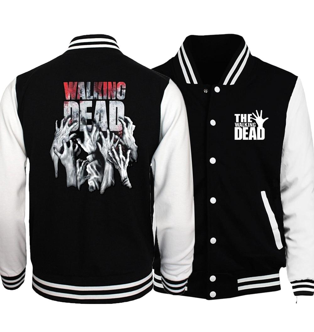 The Walking Dead Jacket Men Wing Baseball Jersey 2018 Spring Autumn Black White Jackets Black White Printed Coat Plus Size 5XL