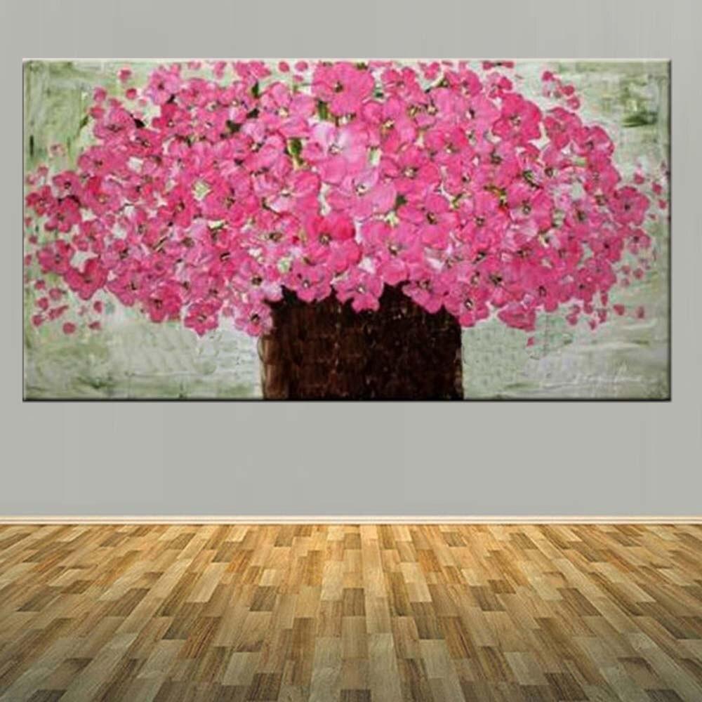 Pintado a mano, paleta abstracta, florero, florero rosa, pintura al óleo sobre lienzo, rosa, foto de flor para pared, sala de estar, decoración del hogar, arte