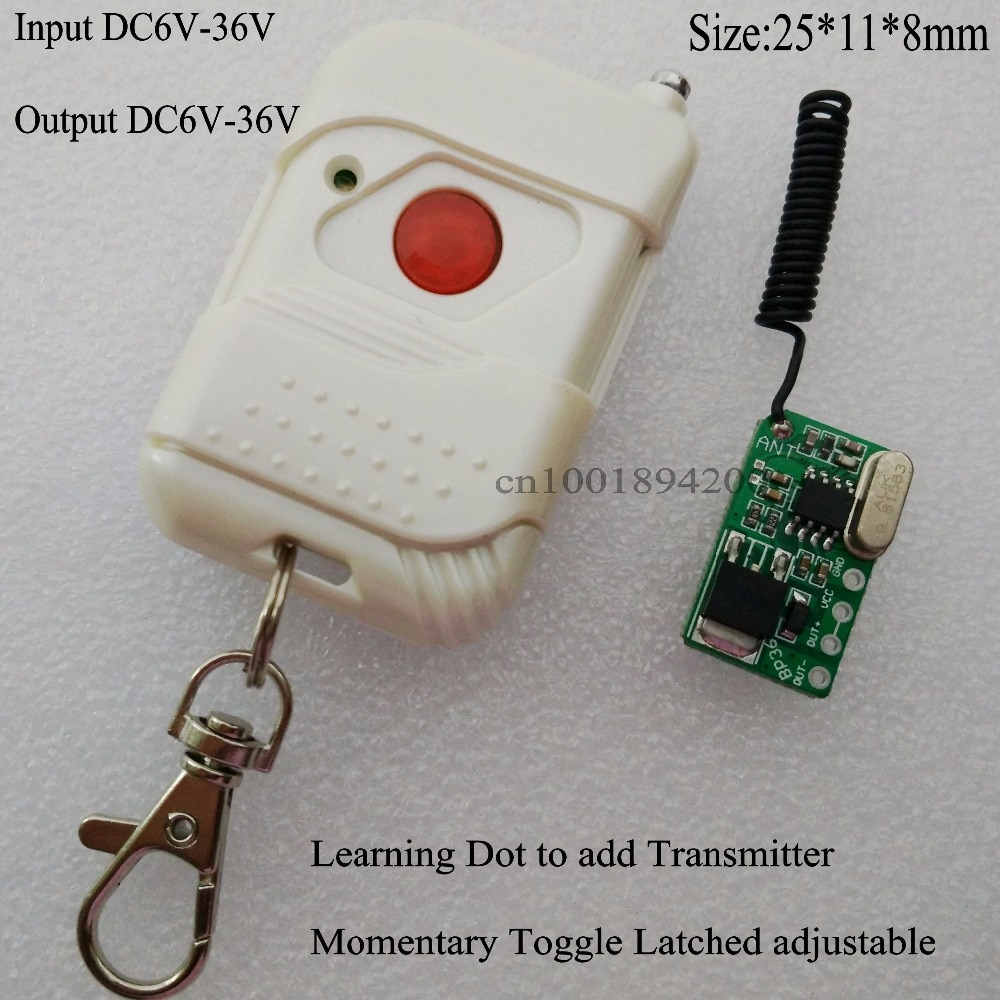 6V 9V Remote Control Switch DC6V-36V Wireless Power Remote ON OFF Switch 12V 24V Mos Receiver  Voiceless Momentary Toggle Learn