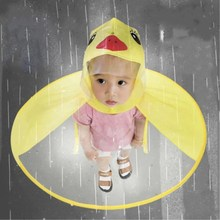 Children's raincoat boys and girls umbrella hat rain gear children's kindergarten flying saucer hat rain artifact