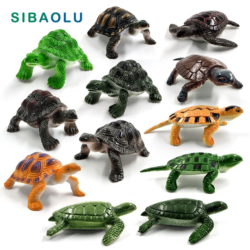 12 piezas tortuga de mar tortuga estatuilla Animal modelo Bonsai hogar Decoración miniatura Hada jardín Decoración Accesorios estatua moderna