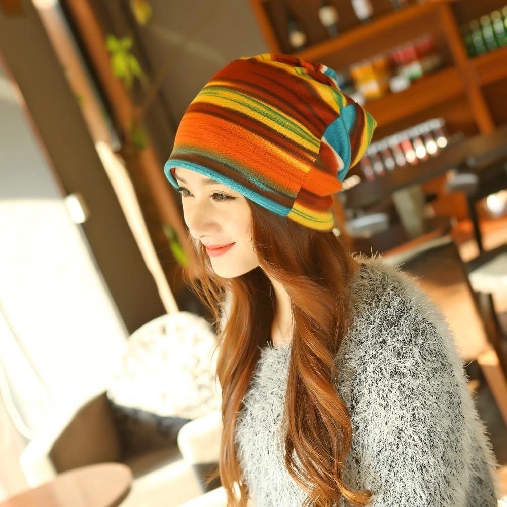 Fashion Spring Women's  Hat Turban Autumn Winter Warm Headdress Caps Colorful Striped Scarf Sport Sunscreen Beanies Accessories