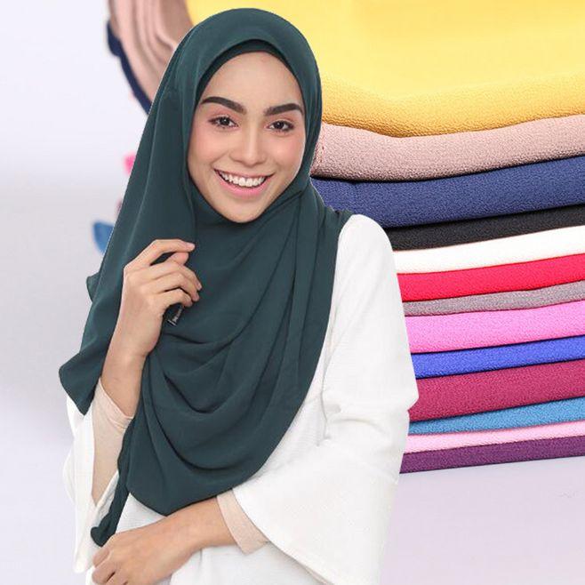 Malasia instantánea Hijabs doble lazo burbuja chifón musulmán Hijab Underscarf Caps mujeres Kuwati Mona Wrap listo para usar 180x75 cm