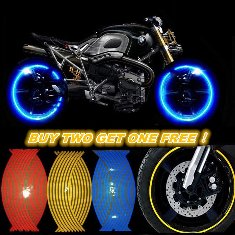 Buy Two Get One Free! Motorcycle Styling Wheel Hub Tire Reflective Sticker Car Decorative Stripe Decal For YAMAHA HONDA SUZUKI