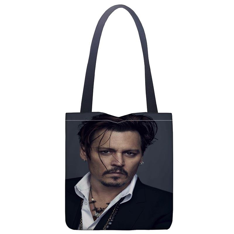 New Johnny Depp printed canvas tote bag convenient shopping bag woman bag student bag Custom your image