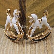 En vrac 29*19MM mode animal cheval forme émail bijoux collier amulettes flottantes bricolage téléphone chaîne porte-clés décoration métal breloque