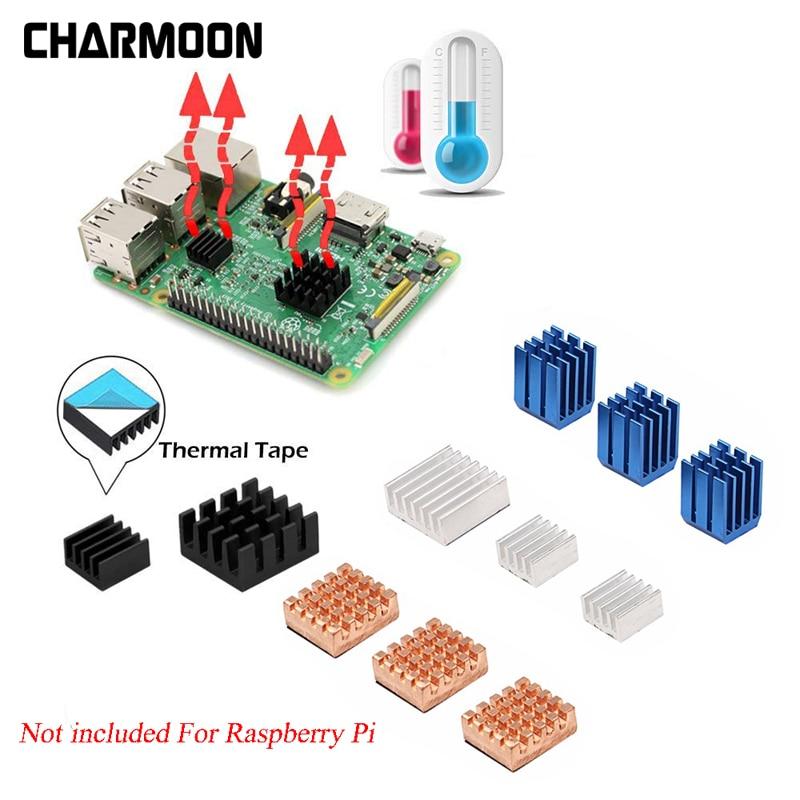 For Raspberry Pi 3 Model B + Plus Heat Sink Copper Aluminum Heatsink Radiator Cooler Kit for Raspberry Pi 3 B+/3 2 Hot Sale uk rs raspberry pi 3 kit russian spanish english mini keyboard 16g sd card 2 5a power supply case heat sink hdmi cable