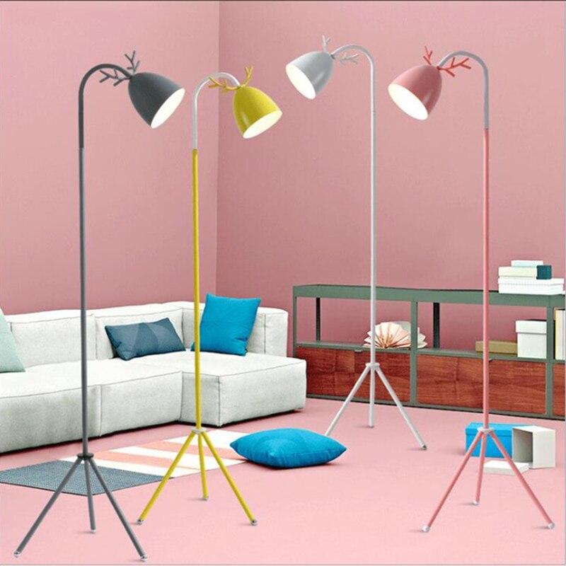 Напольные лампы E27 в скандинавском стиле для спальни, гостиной, кабинета, милого креативного рога, защита глаз, светодиодные вертикальные на...