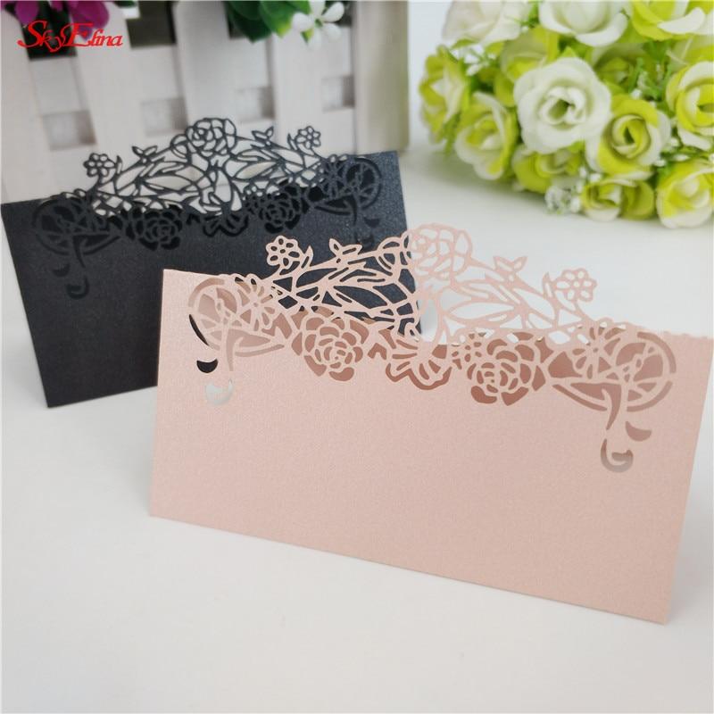Tarjetas de lujo para boda cortadas con láser de 50 Uds., elegantes sobres de encaje, tarjetas de nombre y lugar para las mesas decoración para fiesta de boda 7zsh872