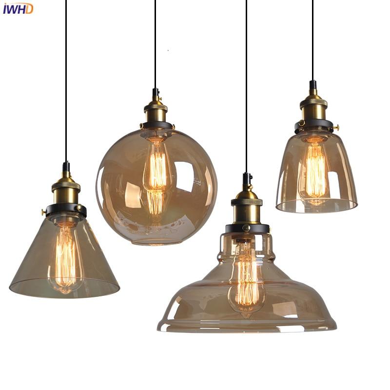 IWHD לופט תעשייתי דקור LED תליון מנורת חדר אוכל זכוכית Hanglamp אדיסון בציר תליון אורות גופי Lampara Colgante