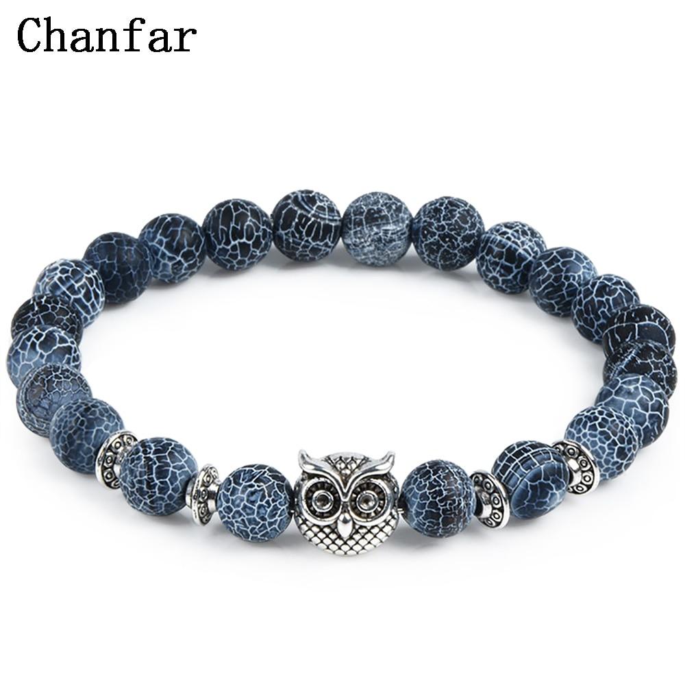 Leopard Tiger Eye Lion Head Bracelet Owl Buddha Bead Bracelets Bangles Skull Charm Natural Stone Bracelet yoga Jewelry Men Women