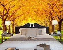 Beibehang 2017 최신 실크 옷감 벽지 황금 나무 잔디 녹색 아름다운 tv 배경 벽 papel de parede 3d wallpaper